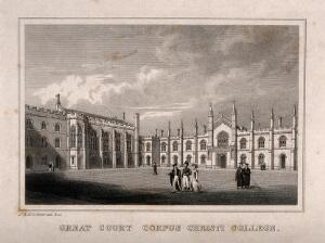 view Corpus Christi College, Oxford: quadrangle. Line engraving by J. & H.S. Storer.