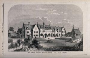 view Oxford Diocesan Training School, Oxford. Wood engraving by Laing after J. Clarke.