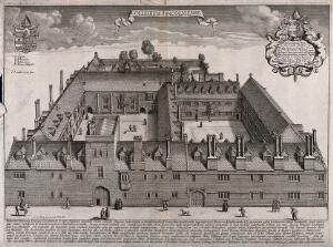 view Lincoln College, Oxford: bird's-eye view with coat of arms. Etching by D. Loggan, 1674.