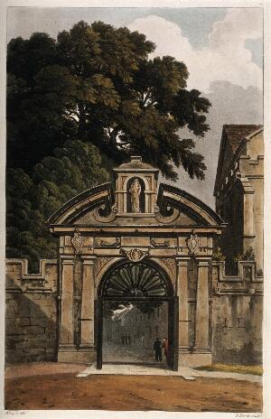 view Magdalen College, Oxford: entrance gate. Coloured aquatint by D. Havell, 1814, after A.C. Pugin.