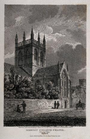 view Merton College, Oxford: chapel. Line engraving by J. Storer, 1808, after J.C. Smith after E. Dayes.