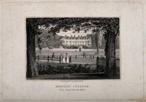 view Merton College, Oxford: panoramic view from Christ Church walk. Line engraving by J. & H.S. Storer.