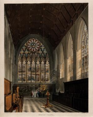 view Merton College, Oxford: a marriage ceremony in the chapel. Coloured aquatint by J. Bluck, 1813, after A.C. Pugin.