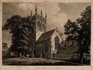 view Merton College, Oxford: the church. Aquatint by J. Merigot after A.C. Pugin.