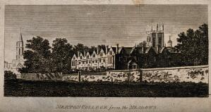 view Merton College, Oxford: from the meadows. Line engraving.