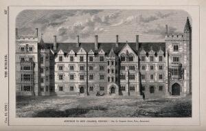 view New College, Oxford. Wood engraving by J. Walmsley, 1872, after Sir G. G. Scott.