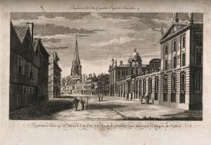 view Queen's College, Oxford: showing panoramic view of All Souls College and St. Mary's Church. Line engraving.