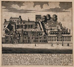 view Queen's College, Oxford: bird's eye view and printed text. Line engraving.