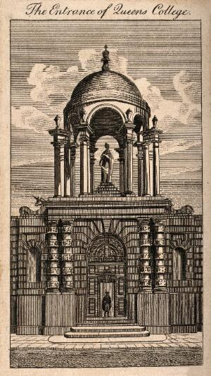 view Queen's College, Oxford: gateway. Line engraving.