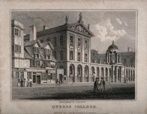 view Queen's College, Oxford. Line engraving by J. & H.S. Storer, 1821.