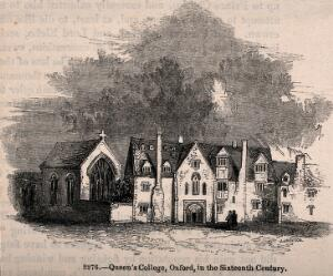 view Queen's College, Oxford: in the sixteenth century. Wood engraving by J. Jackson.