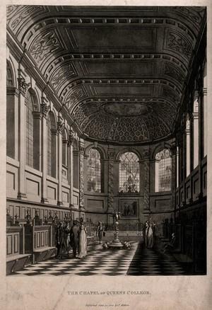 view Queen's College, Oxford: interior of chapel. Aquatint.