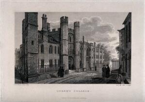 view Queen's College, Oxford: entranceway. Line engraving by E.F. McCabe, 1824, after R.B. Harraden.
