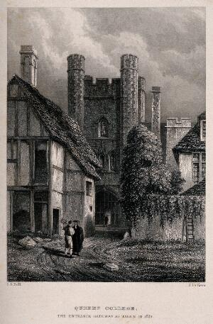view Queen's College, Oxford: the gateway in 1837. Line engraving by J. Le Keux after I.A. Bell.