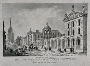 view Queen's College, Oxford: panoramic view with the High Street. Etching by J. Newman.