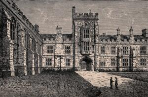 view Queen's College, Oxford: quadrangle. Wood engraving.