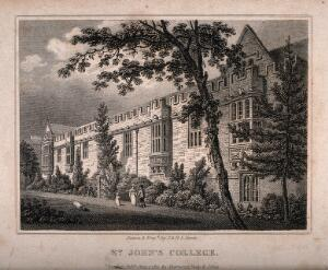 view St. John's College, Oxford. Line engraving by J. & H.S. Storery, 1821.