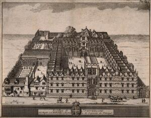 view University College, Oxford: aerial view with key and scale. Line engraving.