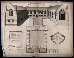 view Wadham College, Oxford: panoramic view with a keyed floor plan. Line engraving by W. Willams.