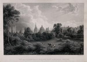 view Wadham College, Oxford: panoramic view of the city from the grounds. Line engraving by W. Radclyffe, 1848, after F. Mackenzie.