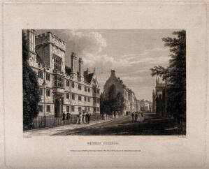 view Wadham College, Oxford: panoramic view including Hertford College and the Bodleian Library. Line engraving by J. Le Keux, 1836, after F. Mackenzie.