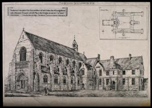 view National Hospital for Incurables and St. Mary's Church, Cowley St. John, Oxford: with a floor plan. Photolithographny J. Akerman, 1873, after C. Buckeridge.