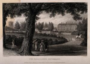view Radcliffe Infirmary, Oxford: figures strolling along the footpath. Line engraving by J. Le Keux, 1834, after F. Mackenzie.