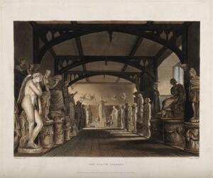 view Ashmolean Museum, Oxford: panoramic view of the statue gallery. Coloured aquatint by C.G. Lewis, 1814, after W. Westall.