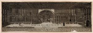 view Bodleian Library, Oxford: interior panoramic view with key. Line engraving.