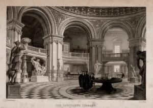 view Radcliffe Library, Oxford: interior showing scholars and classical statues. Line engraving by J. Le Keux after F. Mackenzie.