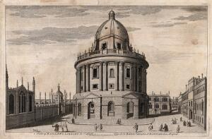 view Radcliffe Camera, Oxford: panoramic view with All Soul's College, Brasenose College and the Bodleian Library. Line engraving.