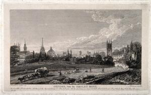 view City of Oxford: from Henley Road with a panoramic view of the colleges and churches. Etching by J. Whessell, 1821, after himself.