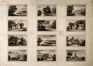 view Oxford: twelve views of the city as seen from the surrounding countryside or river. Aquatint.