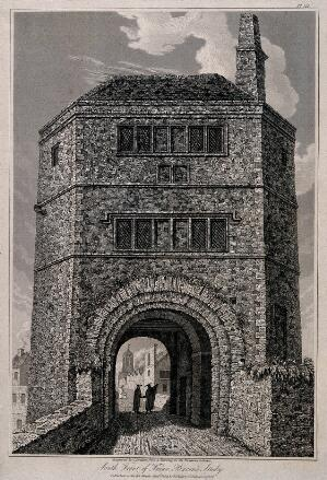 view Friar Bacon's Study, Oxford. Line engraving by J. Skelton, 1819, after a drawing in the Bodleian Library.