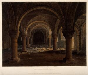 view St. Peter-in-the-East, Oxford: crypt showing bones and skulls. Coloured aquatint by J. Bluck, 1813, after F. Nash.