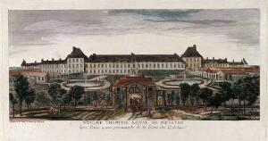 view Hôpital Royal de Bicêtre, Paris: panoramic view with gardens. Coloured etching by J. Rigaud after himself.