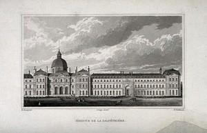 view Hôpital de la Salpêtrière, Paris: panoramic view. Engraving by B. Winkles after B. Ferrey.