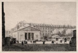view The Hôtel Dieu, Paris: panoramic view with busy foreground. Etching by Grimdel?, 1877, after himself, 1868.