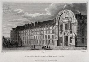 view Hôtel des Invalides, Paris: soldiers outside the principal facade. Line engraving by W. Watkins, 1831, after B. Ferry.