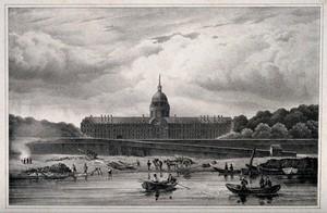 view Hôtel des Invalides, Paris: as seen from the river. Lithograph by Le Villain after David.