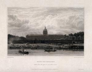 view Hôtel des Invalides, Paris: panoramic view from the river. Engraving by Elizabeth Byrne, 1821, after F. Nash.