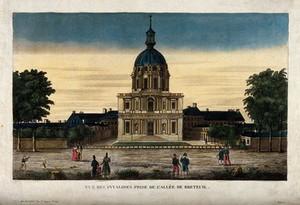 view Hôtel des Invalides, Paris: from the Breteuil walk. Coloured line engraving.