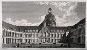 view Hôtel des Invalides, Paris: from the central court. Line engraving by W. Taylor, 1830, after B. Ferrey.