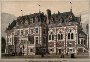 view The Hertford British Hospital, Paris. Coloured wood engraving, 1879.