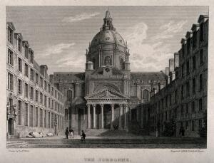 view Sorbonne, Paris: panoramic view. Engraving by Elizabeth Byrne, 1820, after F. Nash.