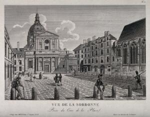 view Sorbonne, Paris: from the corner of the square. Etching.