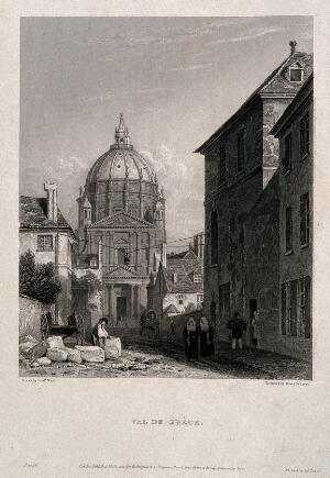 view Val-de-Grâce, Paris: nuns walking in the front of the hospital. Engraving by J. Redaway, 1820, after F. Nash.