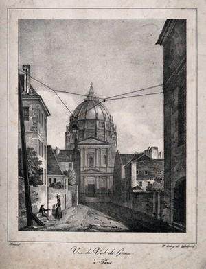 view Val-de-Grâce, Paris. Lithograph by Delpech after Arnout.
