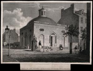view Academy of Natural Sciences, Philadelphia: hall. Line engraving.