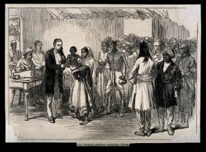 view Sassoon General Hospital, Poona, India: a queue of patients awaiting treatment. Wood engraving by [C.R.].